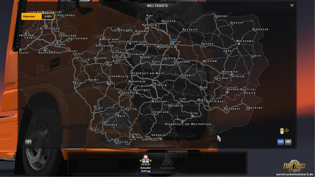 Die Karte im ETS2 (inkl. Going East-DLC)