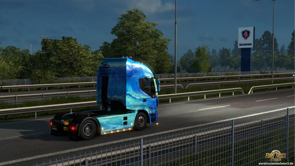Das Scania-Logo ist schon von der Autobahn aus zu sehen
