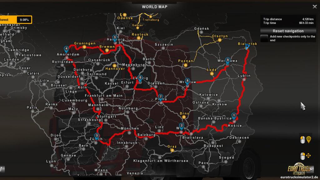 Eigene Routenplanung im ETS2 mit Update 1.20