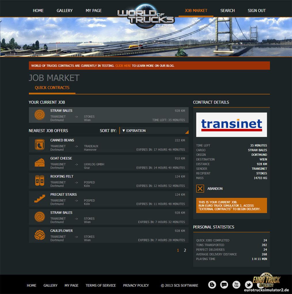 Online-Aufträge in World of Trucks